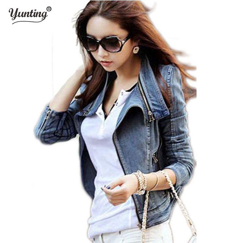 Livraison gratuite nouveau mode Star jeans femmes Punk spike clouté haussement d'épaule Denim recadrée VINTAGE veste manteau Zipper Denim manteau