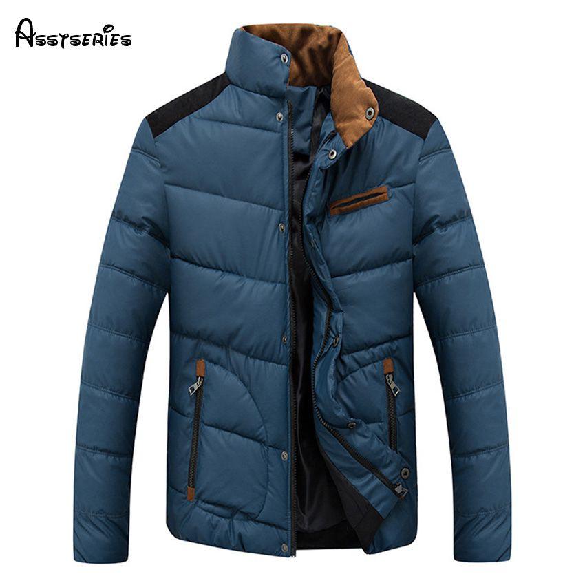 2018 Новая мода Для мужчин зимняя хлопковая теплая хлопковая куртка мужская зимняя верхняя одежда; парка куртка со стоячим воротником Беспла...