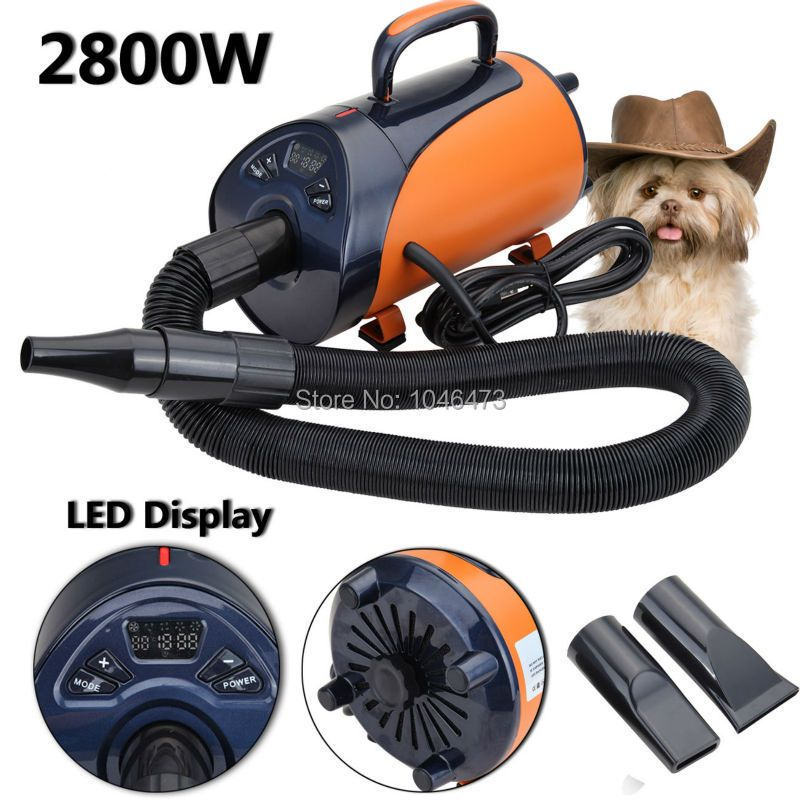 2800W Portable Pet Dog Hair Dryer Animal Grooming Blow Hair Dryer Heat Blower Blaster with 3 Nozzle