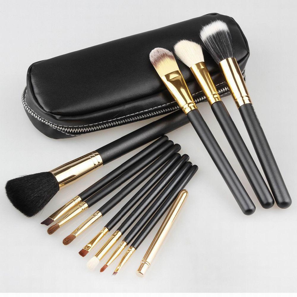 Professionnel Cosmétiques Maquillage Brush Set 12 pcs Brosses Cosmétiques Kit En Cuir Sac Pochette Marque Make UP Outil