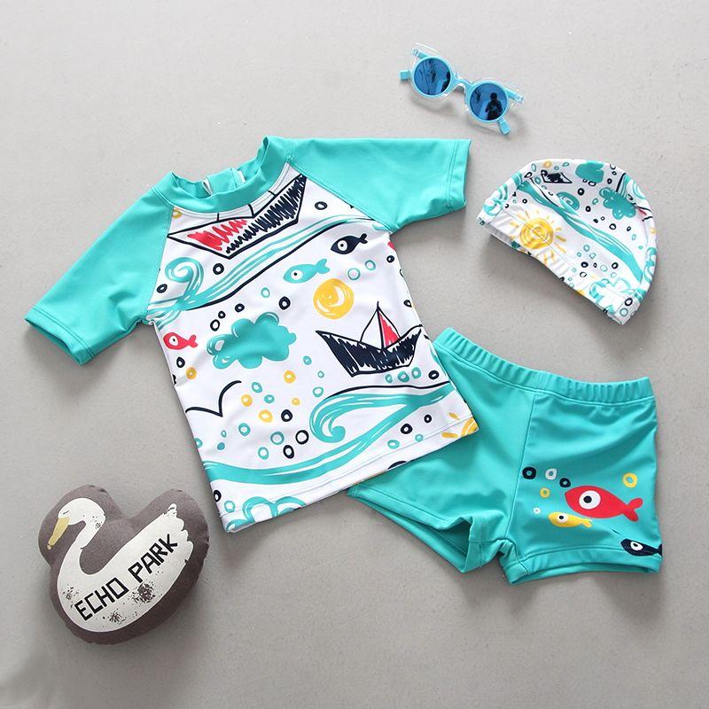 UV Badeanzug für ein Kind Schwimmen Lehren Badeanzüge Zwei Stücke Trennen Rash Guards Gedruckt Baby Kleinkind Jungen Bademode Badeanzüge