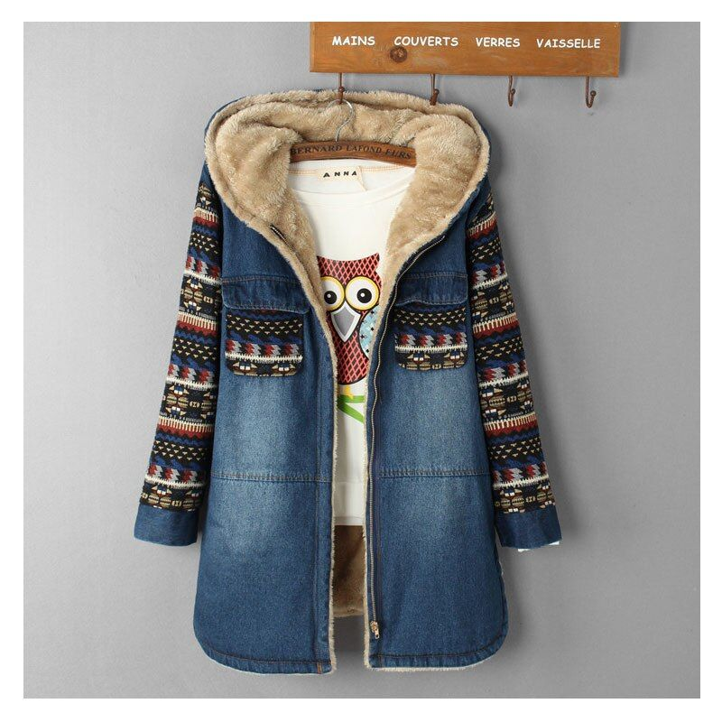 Women Denim Winter Coat 2018 Casual Loose Print Patchwork Plus Velvet Thick Outerwear Tops Warm Long Denim Padded Jacket Female