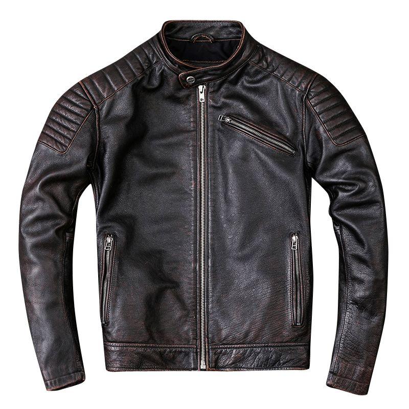 HARLEY DAMSON Retro Vintage Brown Men Motorcycle Leather Jacket Plus Size XXXL Genuine Cowhide Slim Fit Biker Leather Coat