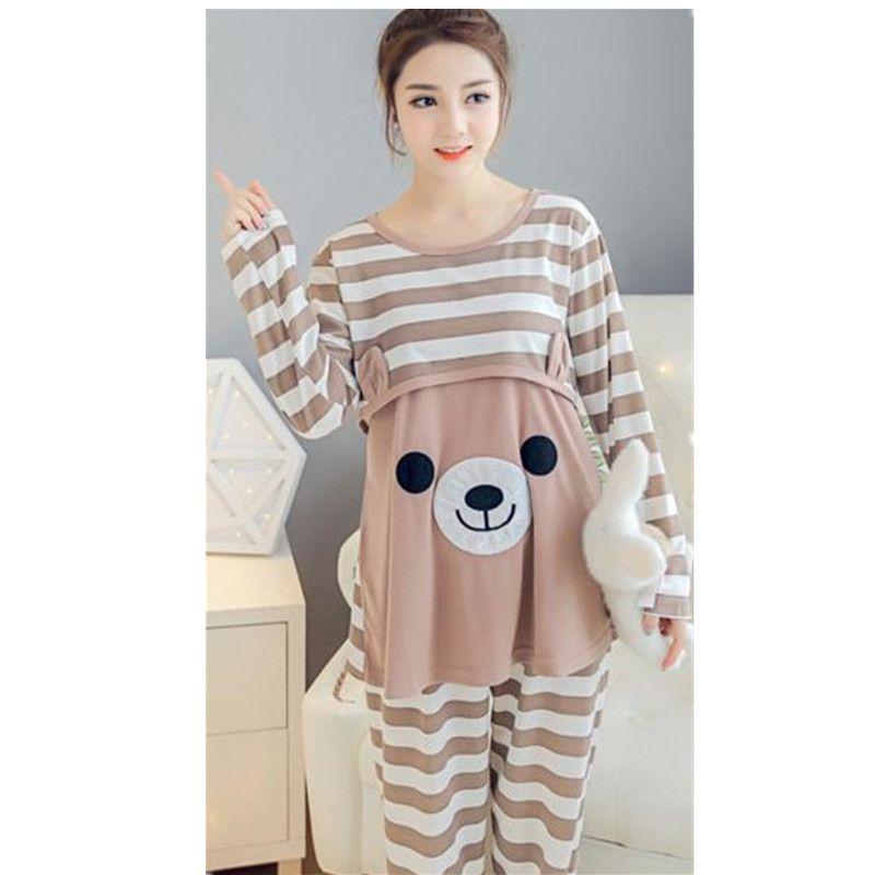 2017 Средства ухода за кожей для будущих мам Грудное вскармливание пижамы Уход пижамы набор с длинным рукавом Свободная одежда для беременны...