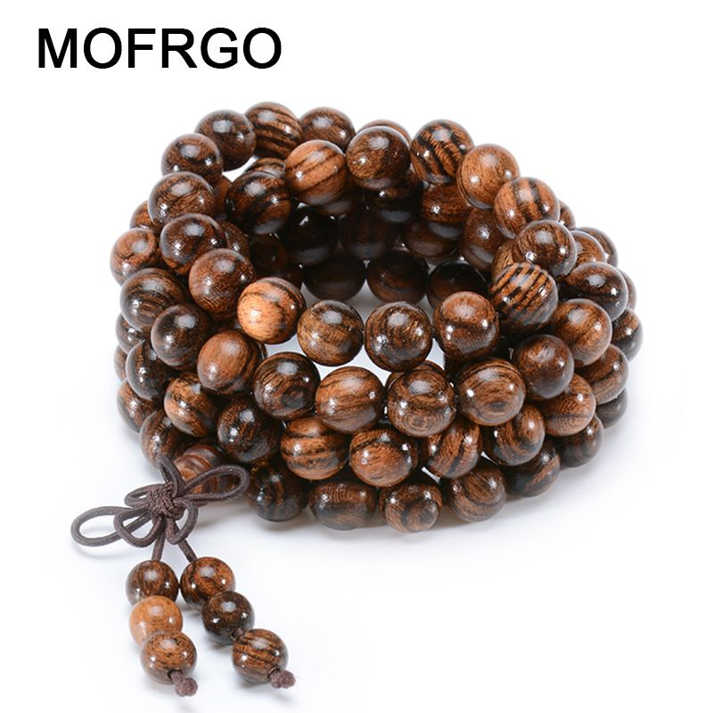 MOFRGO Natural Bocote Multilayer Vintage Men Bracelet 108 Beads Buddha Prayer <font><b>Charm</b></font> Bracelets For Men And Women Wood Jewelry