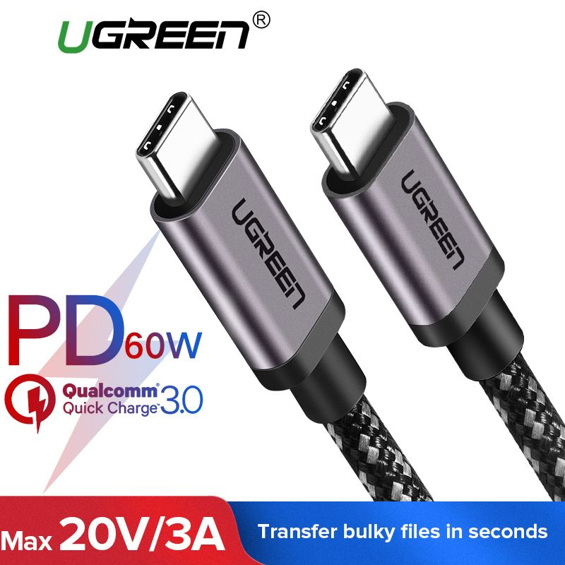 Ugreen USB Type C 3.1 USB C Mâle à Type C Câble Mâle rapide Chargeur Câble pour Xiao 4C Nexus 5X, Nexus 6 P, OnePlus 2, ZUK Z1, Nokia N1