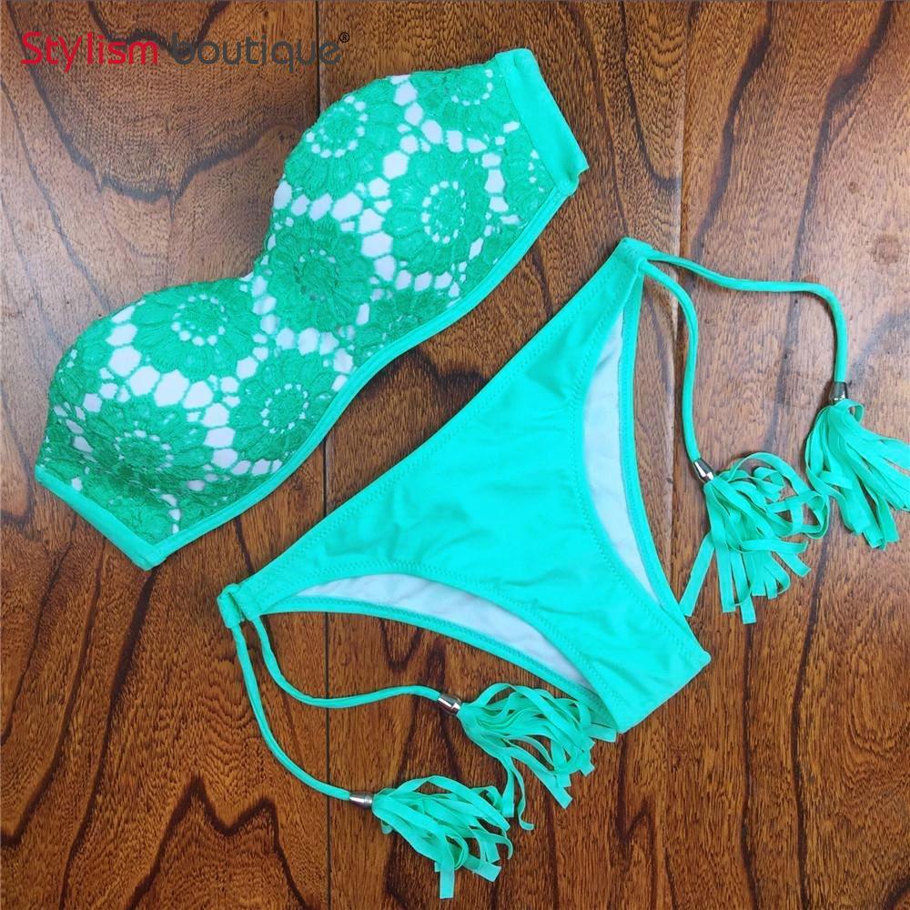 2018 Style D'été Imprimé floral Femmes Bikinis Set Crochet Dentelle Maillot de Bain Bustier Push Up Bandeau Biquinis Beachwear Maillot de bain
