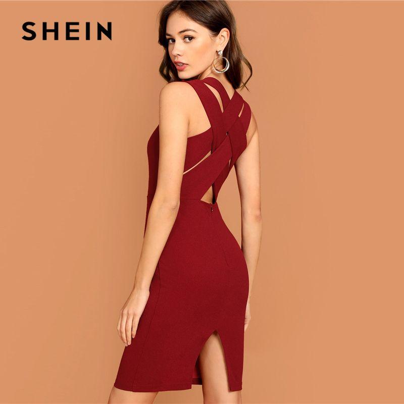 SHEIN Burgund Tiefer Neck Bleistift Kleid Solide Sleeveless V-ausschnitt Bodycon Kleid Elegante Partei Herbst Moderne Dame Frauen Kleider