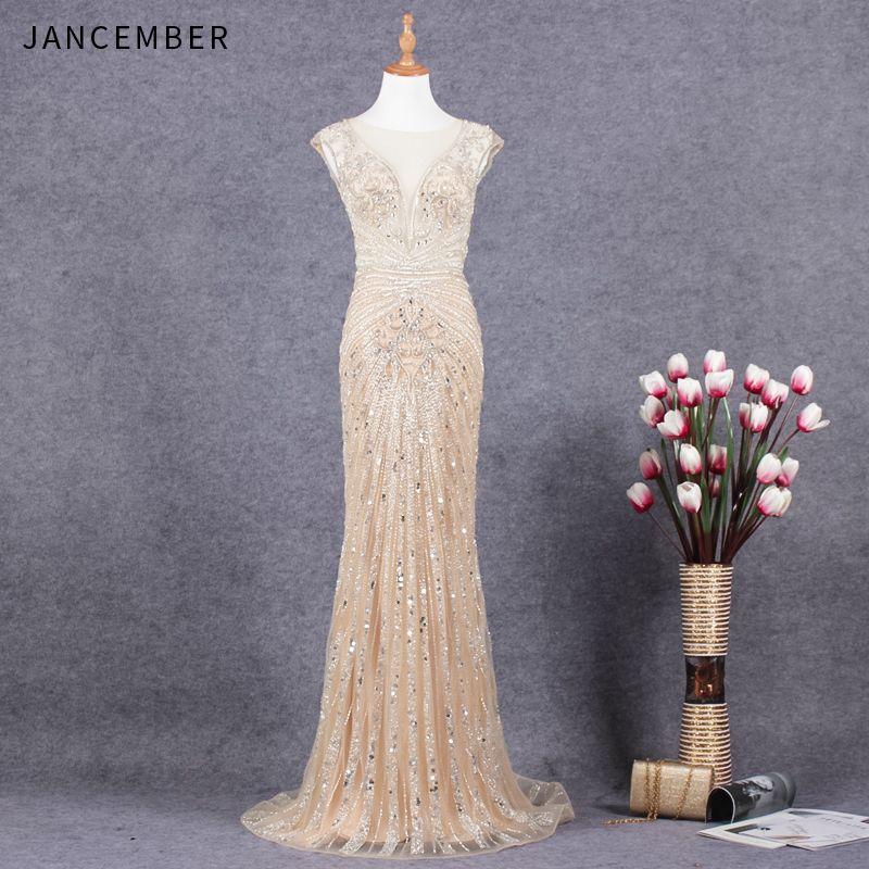 JANCEMBER Luxus vestido de festa longo Perlen Kristall Muster Ärmellose Illusion Oansatz Gericht Zug Meerjungfrau Neue gala kleid
