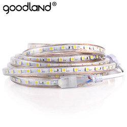 LED Light Strip Étanche AC 220 v SMD 5050 Flexible LED Diode Bande Avec L'UE Plug 60 LEDs/m pour Salon Néon Ruban