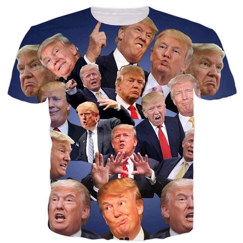 Cloudstyle hommes 3D t-shirt drôle Donald Trump 3D impression complète t-shirts chemise d'été hauts de mode streetwear Slim Fitness grande taille 5XL