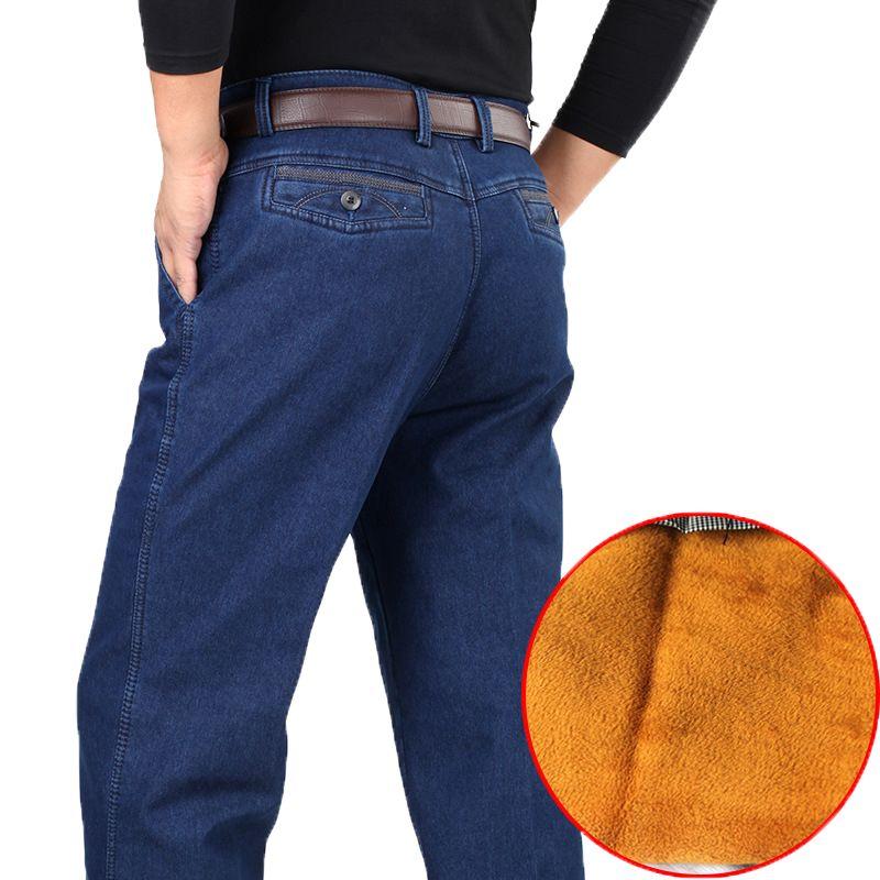 40 42 среднего возраста зимние толстые джинсовые штаны Повседневное Высокая Талия свободные длинные Брюки для девочек Мужской сплошной Прям...