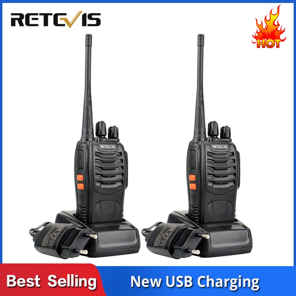 2 pcs RETEVIS H777 Walkie Talkie 3W UHF Two-Way Radio Station Transceiver Two Way Radio Communicator USB Charging Walkie-Talkie