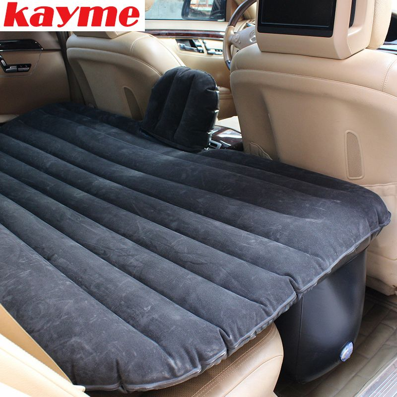 Kayme Car Inflatable Air Mattress Camping Swimming Unversal Travel Rear Seat Bed Auto Sleep Airbed Car Covers Kamp Black Beige