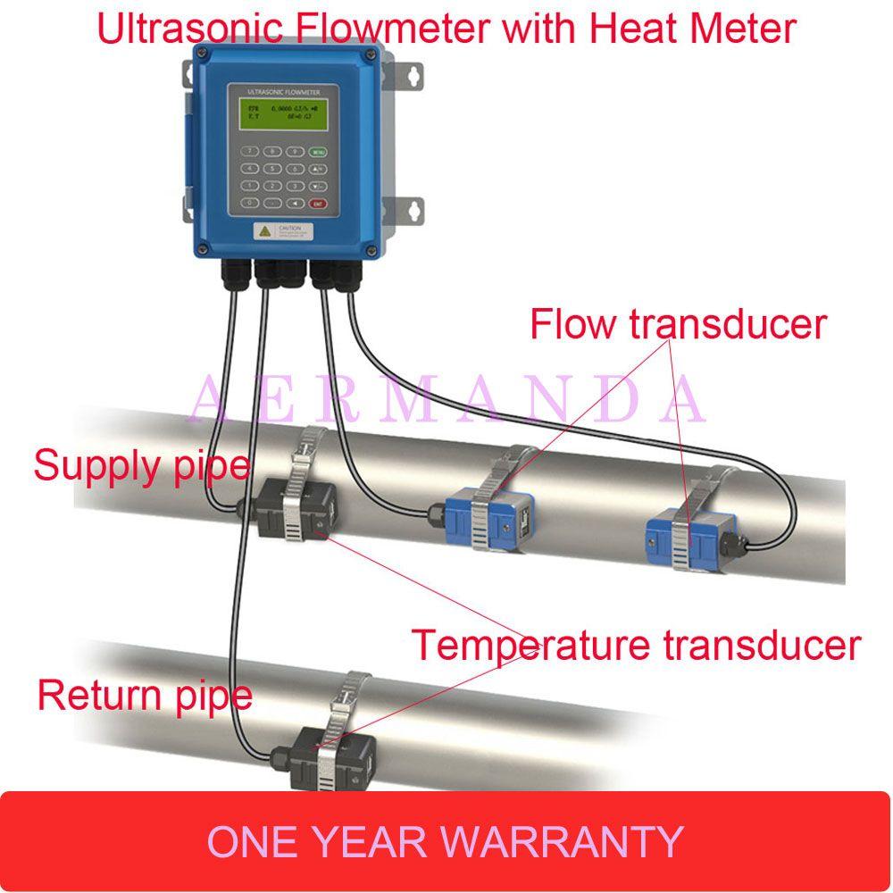 Neue generation Digitale Wand Klemme Auf Ultraschall Wasser Durchflussmesser mit Wärme Meter TUF-2000B DN50-DN700mm