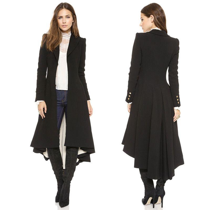 Yaxez 2018 Women Plus Size Long Goth Coat Autumn winter swallowtail Black Pleated Wool Trench Dovetail 5XL 6XL Female Outwear