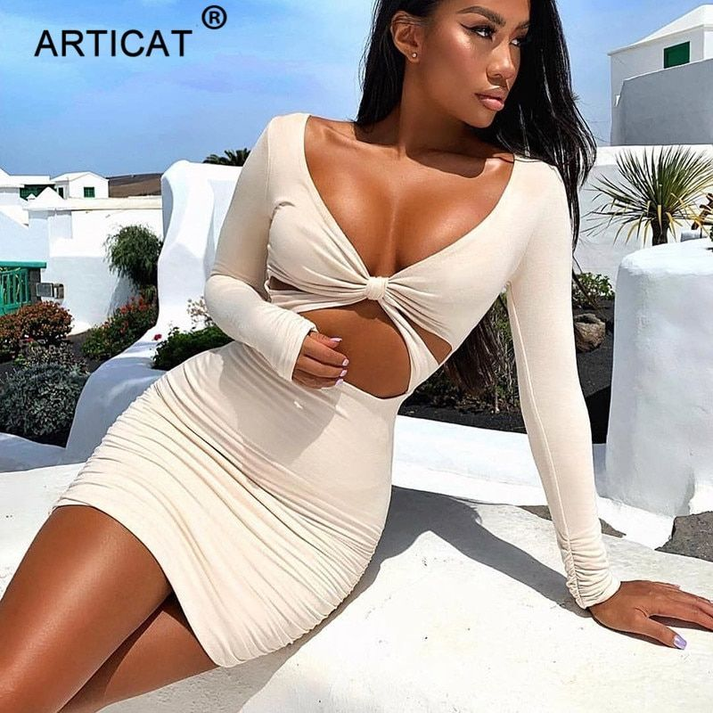 Article blanc Sexy évider femmes robe d'été 2019 à manches longues col en v moulante plissée courte robe décontracté plage robes de fête