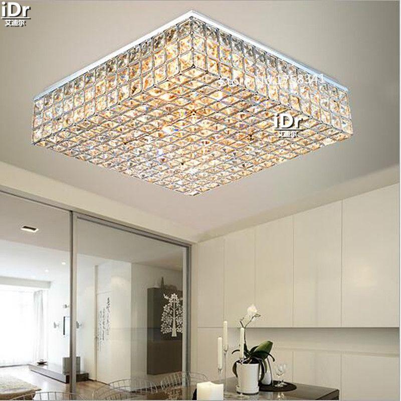 Living room lamps crystal lighting master bedroom room square headlights minimalist atmosphere Ceiling Lights Rmy-0491