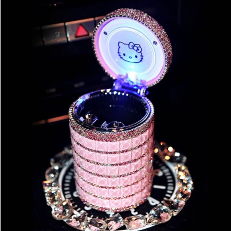 Portable Car ashtray with Light Hello Kitty KT Accessories for Girls Led Car Ash Tray Ashtray Storage Cup Holder Crystal Diamond
