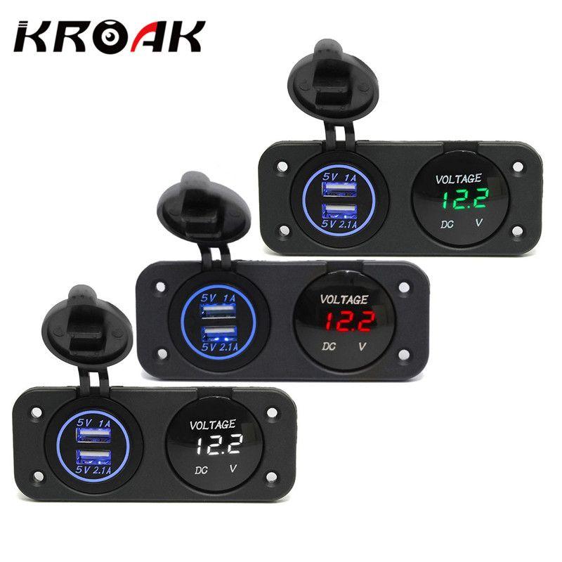 Kroak DC12-24V Водонепроницаемый автомобильный адаптер Мощность Зарядное устройство Dual USB Порты и разъёмы + LED цифровой Дисплей вольтметр Панель