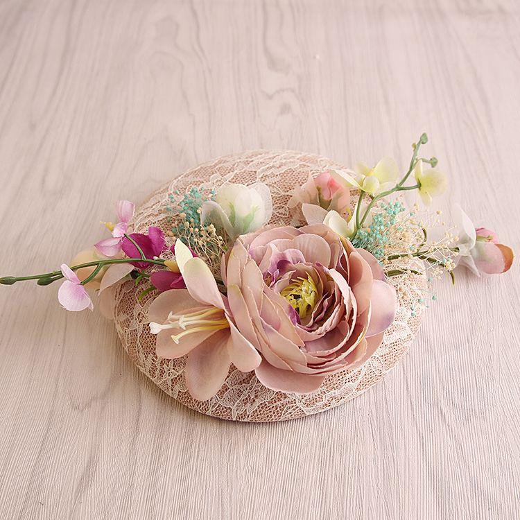 Style coréen rose dentelle lin mariage chapeau pour mariée tissu fleur Fascinator chapeau haut-de-forme pince à cheveux mode femmes fête coiffure nouveau