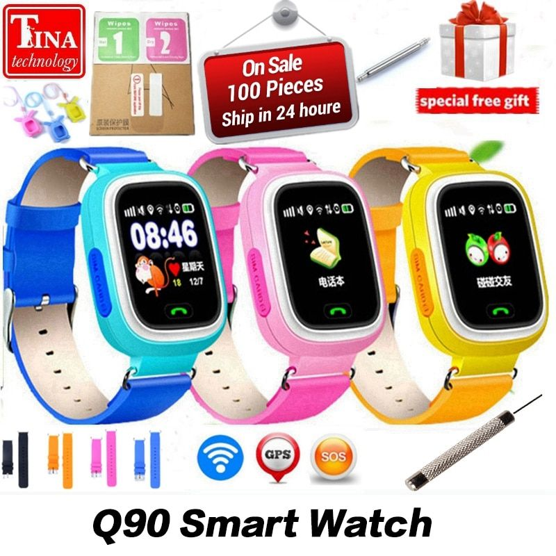 New Arrival Q90 GPS Phone Positioning Fashion Children Watch 1.22 Inch <font><b>Color</b></font> Touch Screen WIFI SOS Smart Watch PK Q80 Q50 Q60