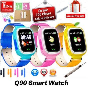 Nouvelle Arrivée Q90 GPS Téléphone Positionnement De Mode Enfants Montre 1.22 pouce Couleur Écran Tactile WIFI SOS Montre Smart Watch PK Q80 q50 Q60