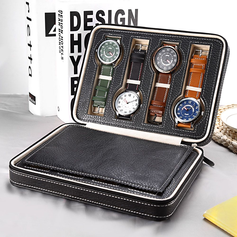 8 <font><b>Grids</b></font> PU Leather Watch Box Storage Showing Watches Display Storage Box Case Tray Zippere Travel Jewelry Watch Collector Case