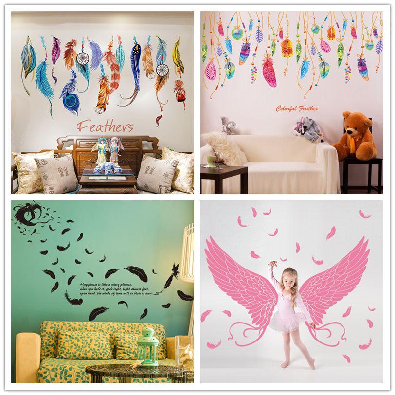 [SHIJUEHEZI] Amovible Plume Stickers Muraux Coloré Plumage Coréenne Dreamcatcher Stickers pour Salon Enfants Chambres Décoration