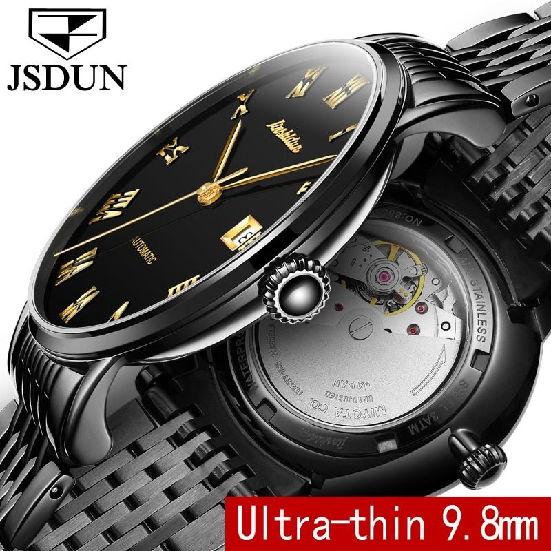 JSDUN Dünne Mechanische Uhr Business Männer Uhr Auto Datum Stahlband Top-marke Männlichen Automatische Armbanduhr relogio masculino 8809G