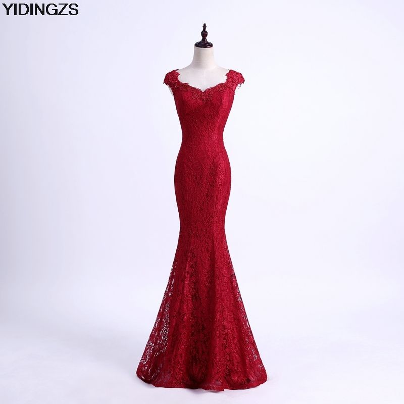 YIDINGZS Elegant Beads Lace Mermaid Long Evening Dress 2017 Simple Wine Red Party Dresses Robe De Soiree Longue