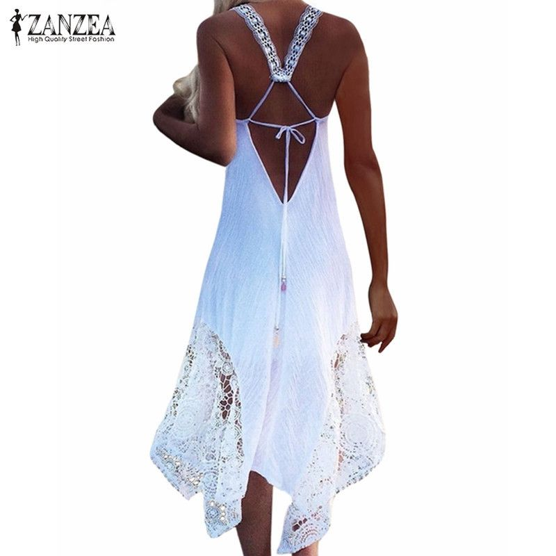 ZANZEA Brand Womem Dress 2018 Summer Sexy V Neck Sleeveless <font><b>Party</b></font> Dress Lace Crochet Casual Loose Beach Maxi Long Dress Vestidos