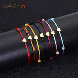 VEKNO Minimal Or Belle Coeur Bracelet Bijoux Faits À La Main Multicolore Corde Réglable Chaîne Chanceux Bracelet Pour Femmes Enfants