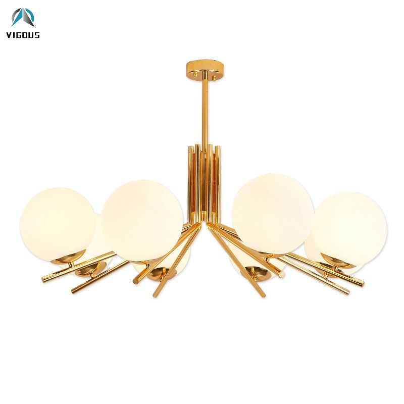 Nordic Minimalism Frosted Glass Globe E27 Led Chandelier Lustre Plate Gold Metal Pendant Chandelier Lighting For Foyer