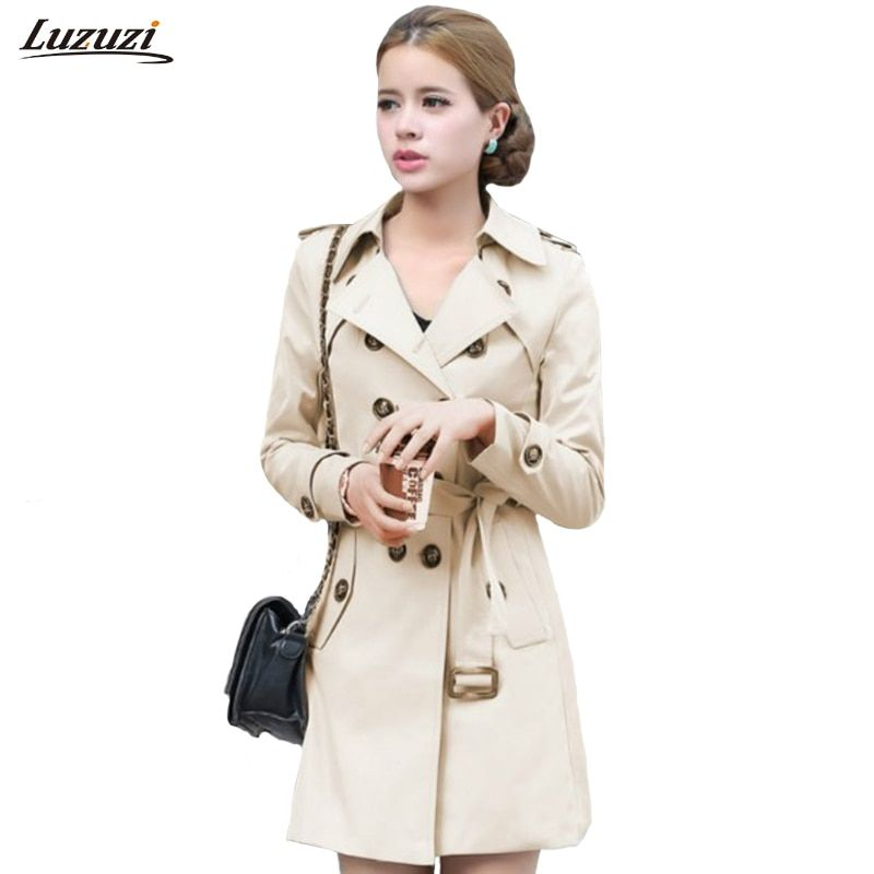 1PC Trench Coat For Women Double Breasted Slim Fit Long Spring Coat Casaco <font><b>Feminino</b></font> Abrigos Mujer Autumn Outerwear Z505