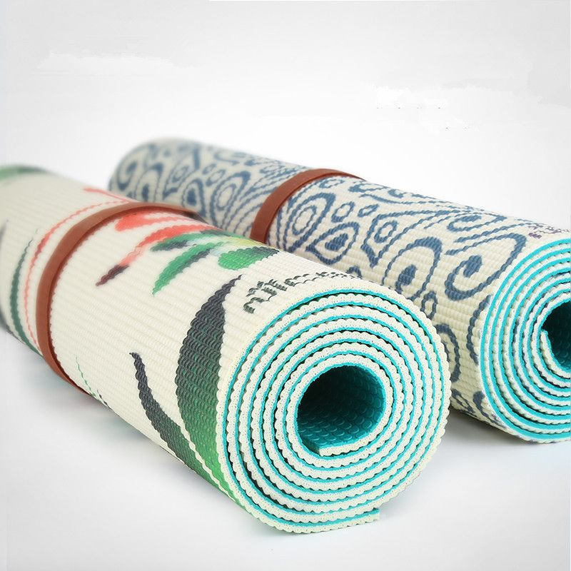 Yoga Mat Printing Non-slip Green Two Sided Double Color PVC Sports Tapete Yoga Mats 183*61cm*5mm Fitness Gym Mat Pilates Pads