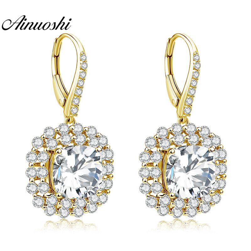 AINUOSHI 10 karat Solide Gelb Gold Tropfen Ohrring SONA Diamant 7ct Kissen Cut Platz Halo Ohrring Frauen Schmuck, Klicken Sie Zurück ohrring