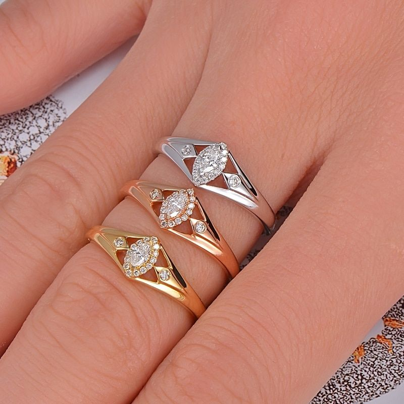 Caimao 14K Gold 0.15ctw Natural GH VS Marquise Round Diamond Engagement Wedding Ring