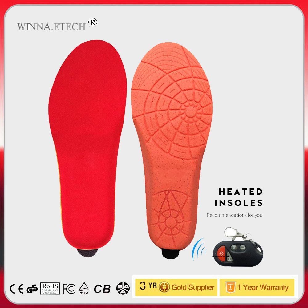New Arrival Heating Insoles with Wireless Remote Control USB Electric Heated Insoles Winter Skiing Thermal Shoe Pads Size 35-46#