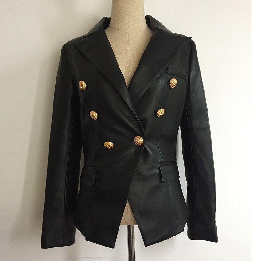 Newest Fall Winter 2017 Designer Blazer Jacket Women's Lion Metal Buttons Double Breasted Synthetic Leather Blazer Overcoat