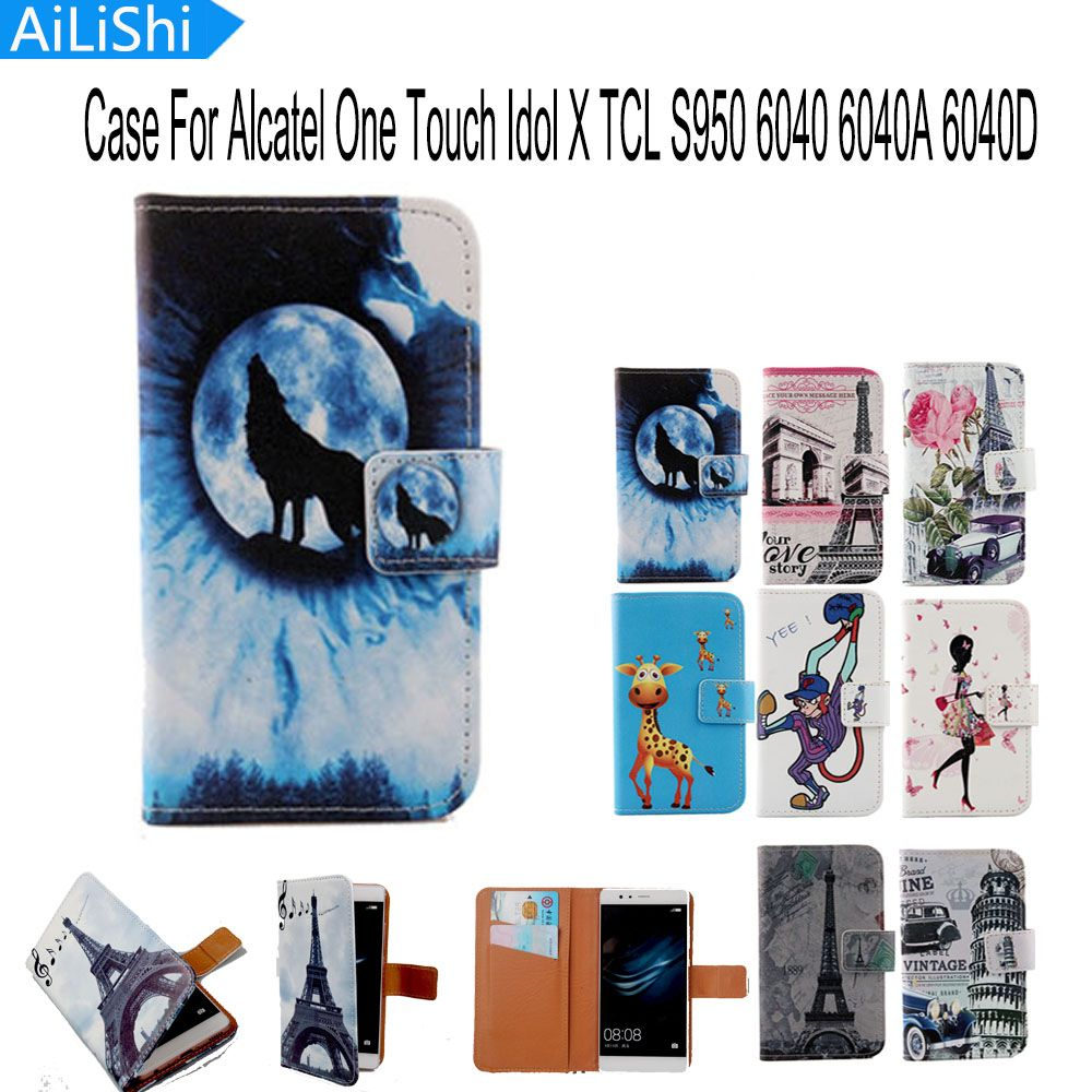 AiLiShi Luxury Cartoon Flip Cover Skin Pouch PU Leather Case Phone Case For Alcatel One Touch Idol X TCL S950 6040 6040A 6040D