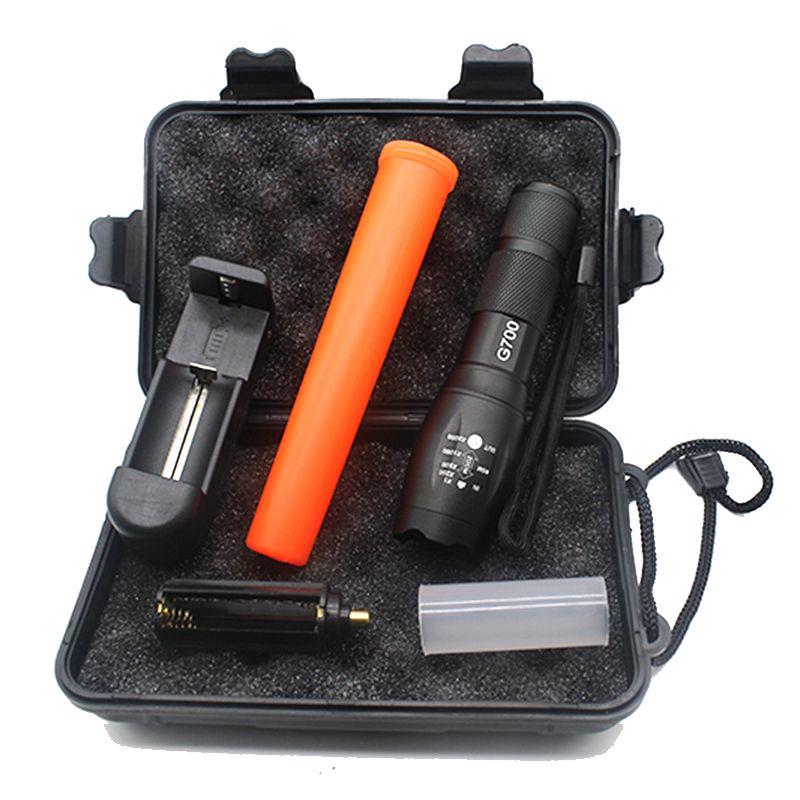 Lampe de poche Led Linterna Cree XML T6 3800lm lampe de poche étanche lampe de poche Police lampes de poche bâton rouge + chargeur + boîte-cadeau