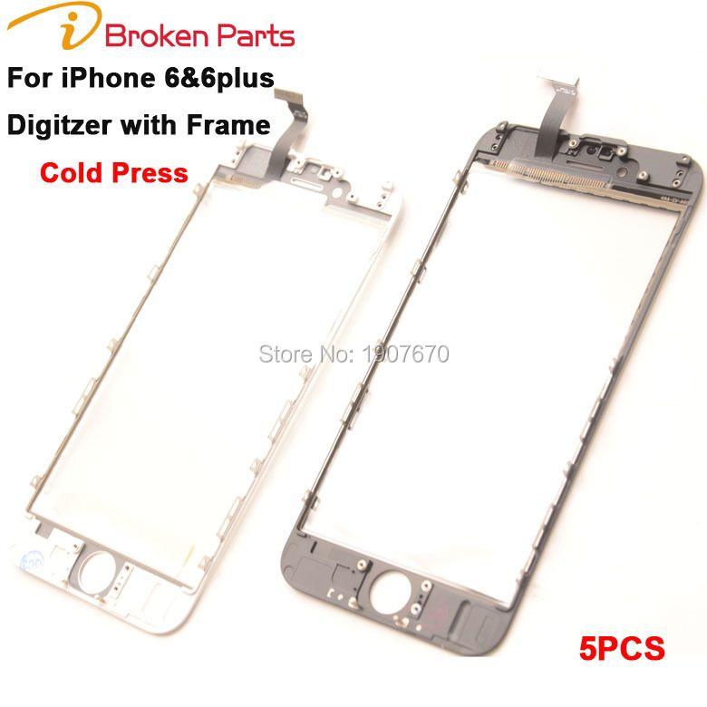 2 en 1 Pression À Froid Panneau de L'écran Tactile avec Cadre pour iPhone 6 6g Digitizer avec Lunette pour iPhone 6 Plus Écran Avant Outer verre