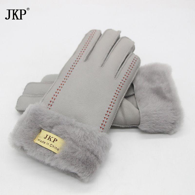 Women's Gloves 100% Real Leather Sheepskin Winter Gloves Hot Warm Stylish Full Finger Ladies Gloves Mittens Genuine Leather