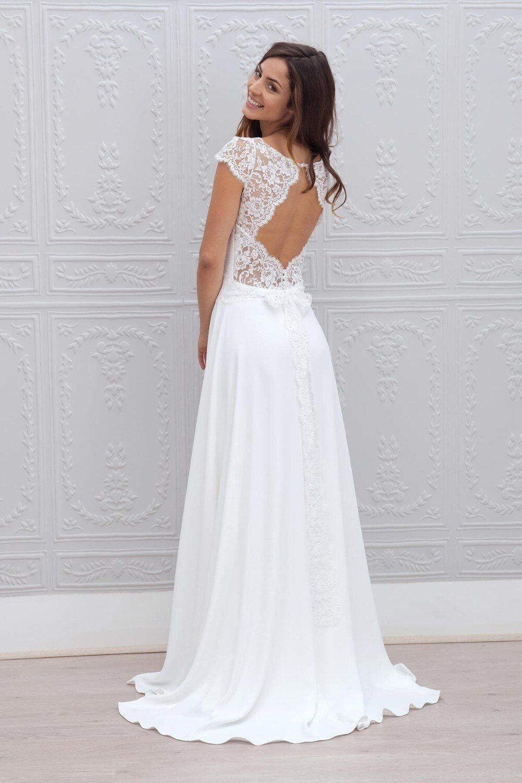 2018 New Arrival Backlacegirl Custom Made Vestido De Noiva Elegante Lace Short Sleeves Beautiful Vestido Beach Wedding Dresses