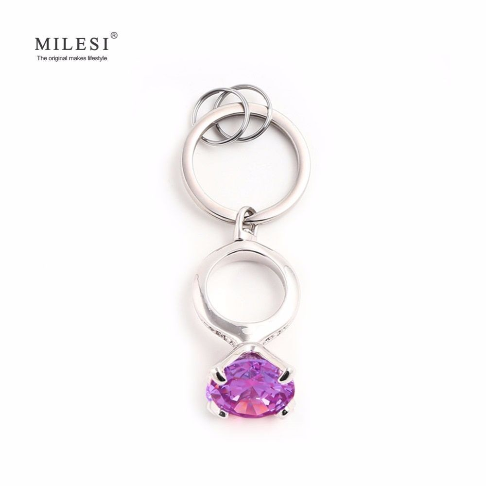 Milesi Women Keychain Car Keyring Ring Shaped Trinket High Quality Souvenir For Girl 4 Colors To Choose JA029