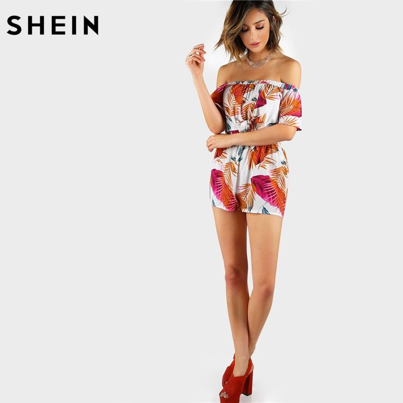 SHEIN Summer Multicolor Palm Leaf Print Layered Knot <font><b>Front</b></font> Open Back Playsuit Off the Shoulder Short Sleeve Sexy Romper