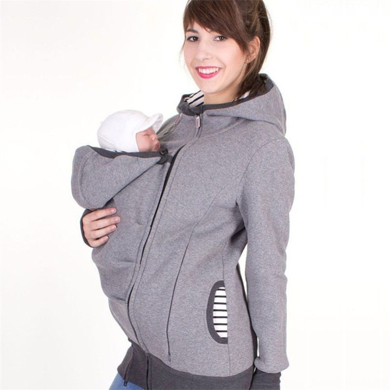 Style de mode à manches longues de maternité chaud vêtements mère automne hiver femmes hoddies transporter bébé infantile sweat zipper manteau
