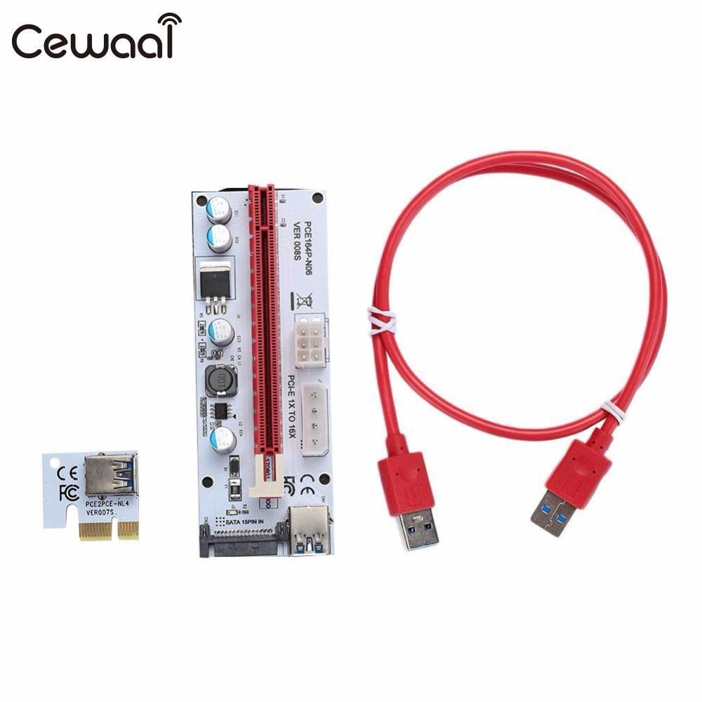 CEWAAL Nouveau USB 3.0 PCI-E 1X À 16X Extender Riser Card Câbles fil Adaptateur à 4Pin IDE Molex Alimentation pour BTC Mineur Machine