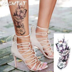 Manusia hidup Raspberry bunga lengan bahu tato kilat henna tato palsu tahan air sementara tato stiker wanita